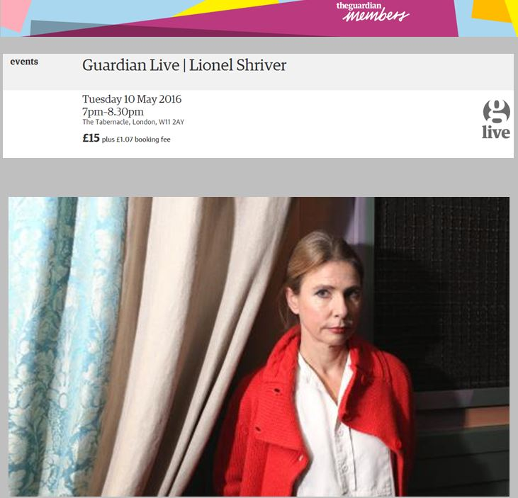 Guardian Live:   Lionel Shriver