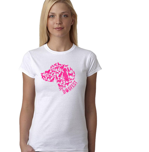 """Dogfest """"Doghead"""" Womens Wht Tee - Dogfest"""