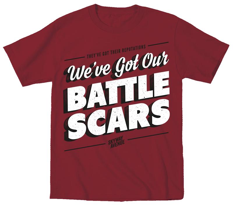Battlescars T-Shirt - Maroon - Skyway Avenue