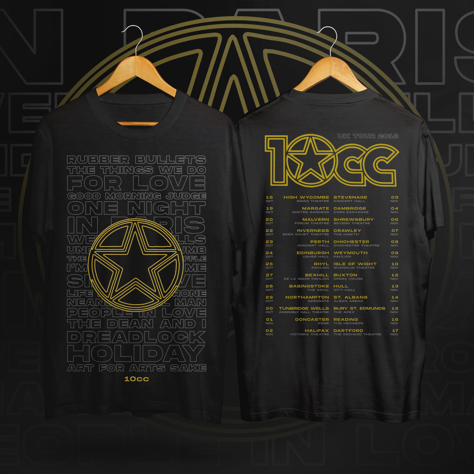 2018 Tour T-shirt (Black) - 10CC