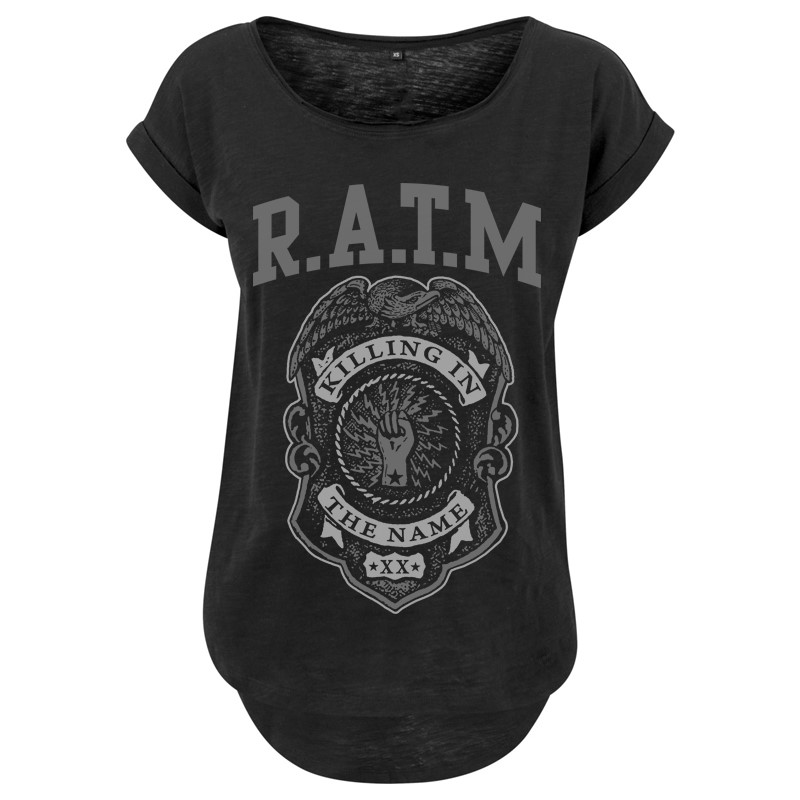 Grey Police Badge - Ladies Long Slub Tee - Rage Against the Machine