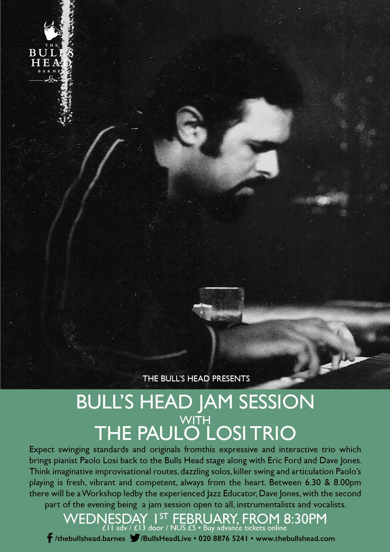 Paolo Losi Trio host The Bull's Head Jam Session