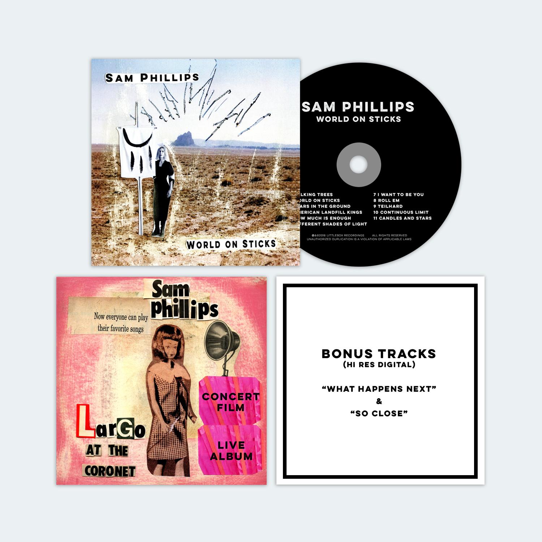 SAM PHILLIPS - WORLD ON STICKS ---------- CD + LARGO PACKAGE BUNDLE - Sam Phillips
