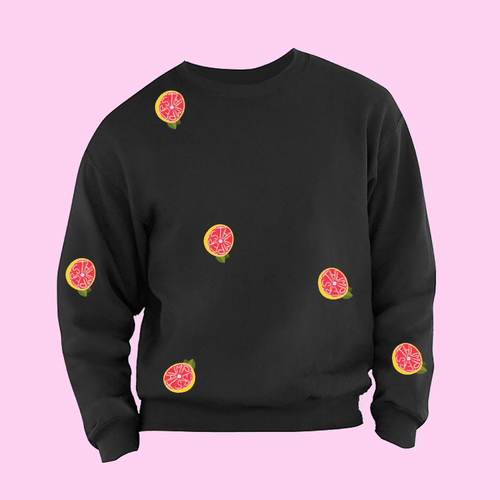100% UNIQUE CUSTOM-MADE THUMPERS GRAPEFRUIT PATCHES SWEATSHIRT - THUMPERS