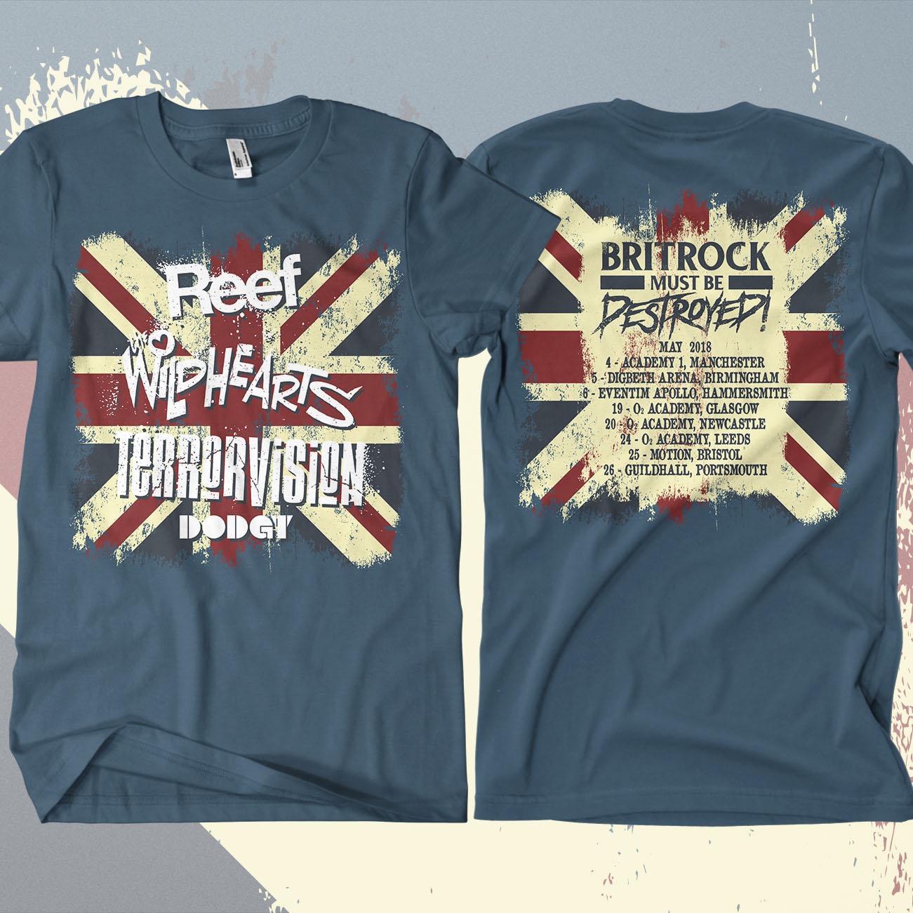 Reef - 'Britrock Must Be Destroyed' Blue UK Tour T-Shirt - Omerch