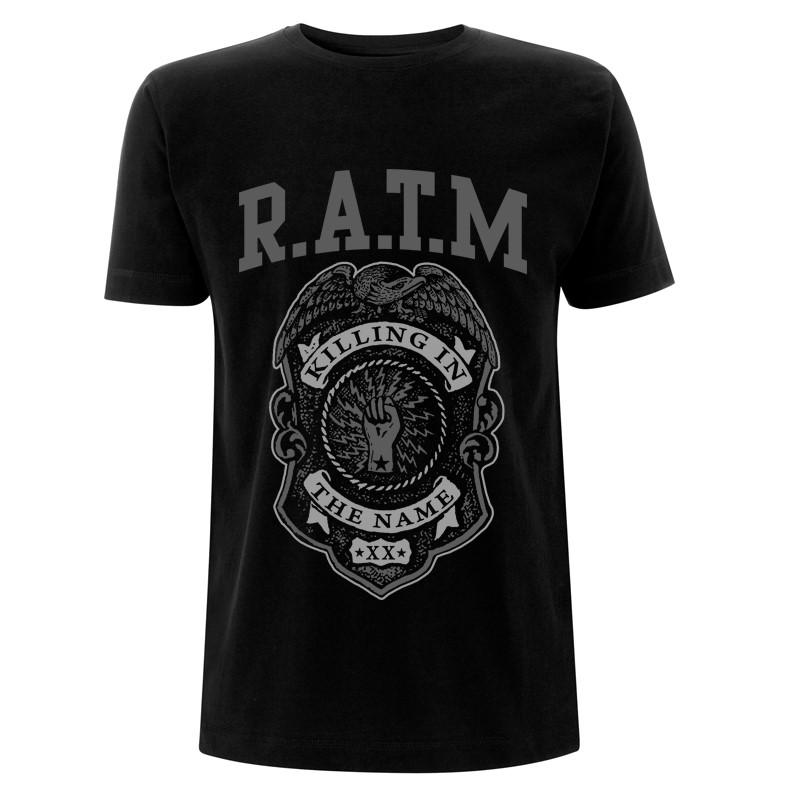 Grey Police Badge - Black Tee - Rage Against the Machine
